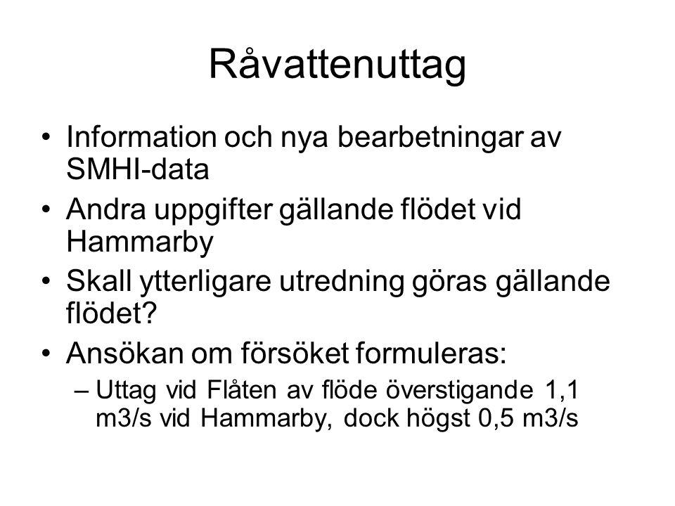 Råvattenuttag Information och nya bearbetningar av SMHI-data Andra uppgifter gällande flödet vid Hammarby Skall ytterligare utredning göras gällande flödet.
