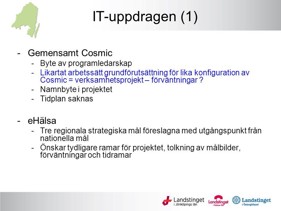 IT-uppdragen (2) - Ledtidsmätning -Rapport nov 2013 -Pilot i form av bröstprocessen i F- och H-län - Cytodos -Projekt rullar på - Termer och begrepp -Specifikt inom Ledtidsmätning -Generellt inom Gemensamt Cosmic - eRemiss -Ej genomförbart i nuläget