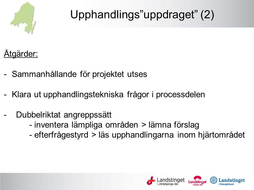 Upphandlings uppdraget (2) Åtgärder: -Sammanhållande för projektet utses -Klara ut upphandlingstekniska frågor i processdelen - Dubbelriktat angreppssätt - inventera lämpliga områden > lämna förslag - efterfrågestyrd > läs upphandlingarna inom hjärtområdet