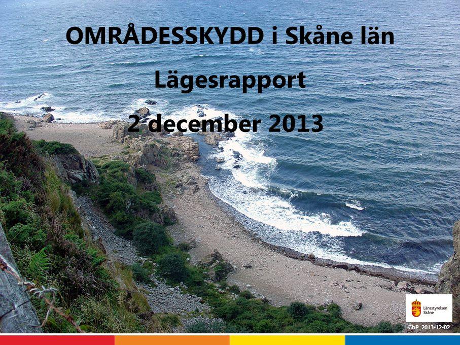 Lagakraftvunna områdesskydd i Skåne län Källa: VicNatur 2013-12-02 * Lunds kommun har bildat ett kommunalt biotopskydd men det saknas uppgift om att det har vunnit laga kraft (areal 7,4 ha) **NVA avser intrångsavtal.