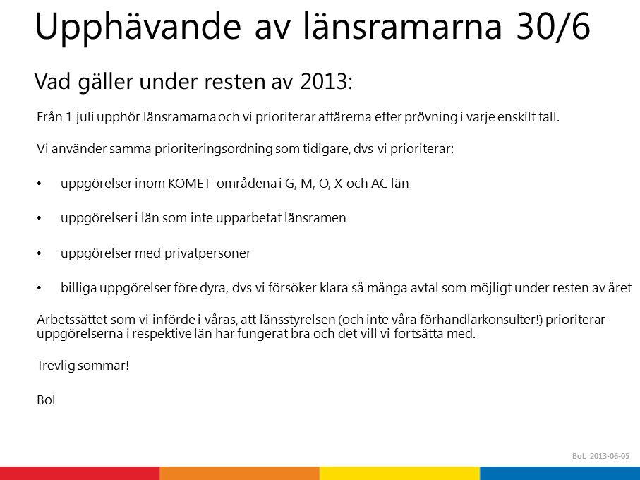 BoL 2013-06-05 Upphävande av länsramarna 30/6 Vad gäller under resten av 2013: Från 1 juli upphör länsramarna och vi prioriterar affärerna efter prövning i varje enskilt fall.