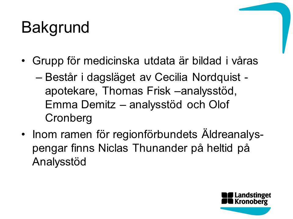 Lägesrapport Påbörjat arbetet att ta fram standardrapporter I första steget på « en-dimensionella » data Använda diagnosgrupper som ingångsdata Standardisering