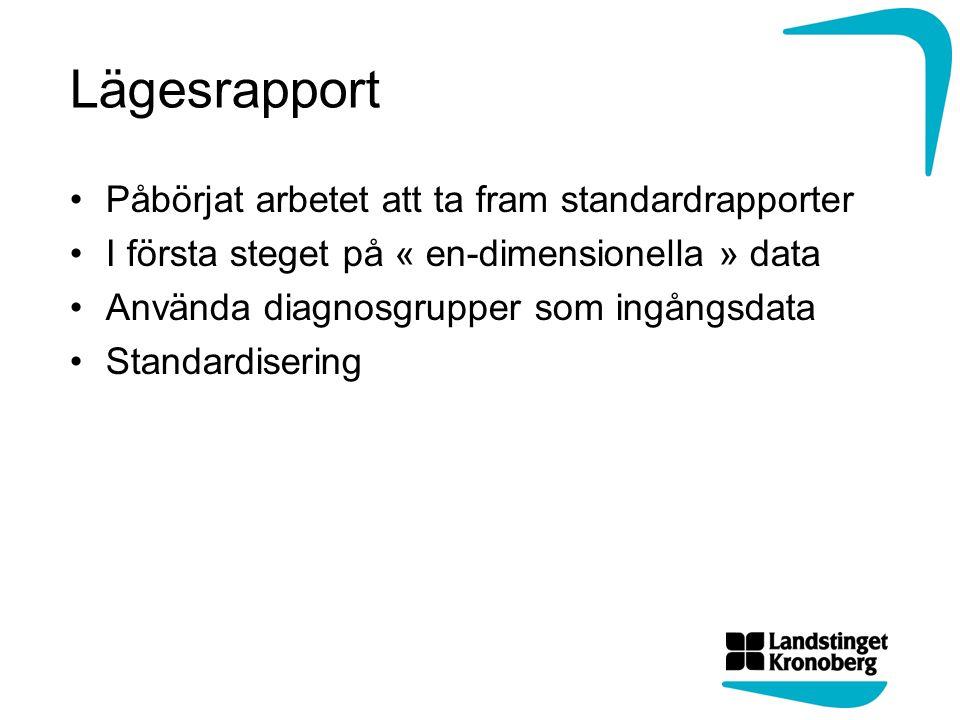 Lägesrapport Påbörjat arbetet att ta fram standardrapporter I första steget på « en-dimensionella » data Använda diagnosgrupper som ingångsdata Standa