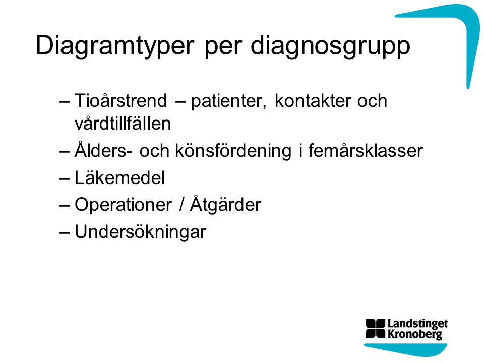Diagramtyper per diagnosgrupp –Tioårstrend – patienter, kontakter och vårdtillfällen –Ålders- och könsfördening i femårsklasser –Läkemedel –Operationer / Åtgärder –Undersökningar