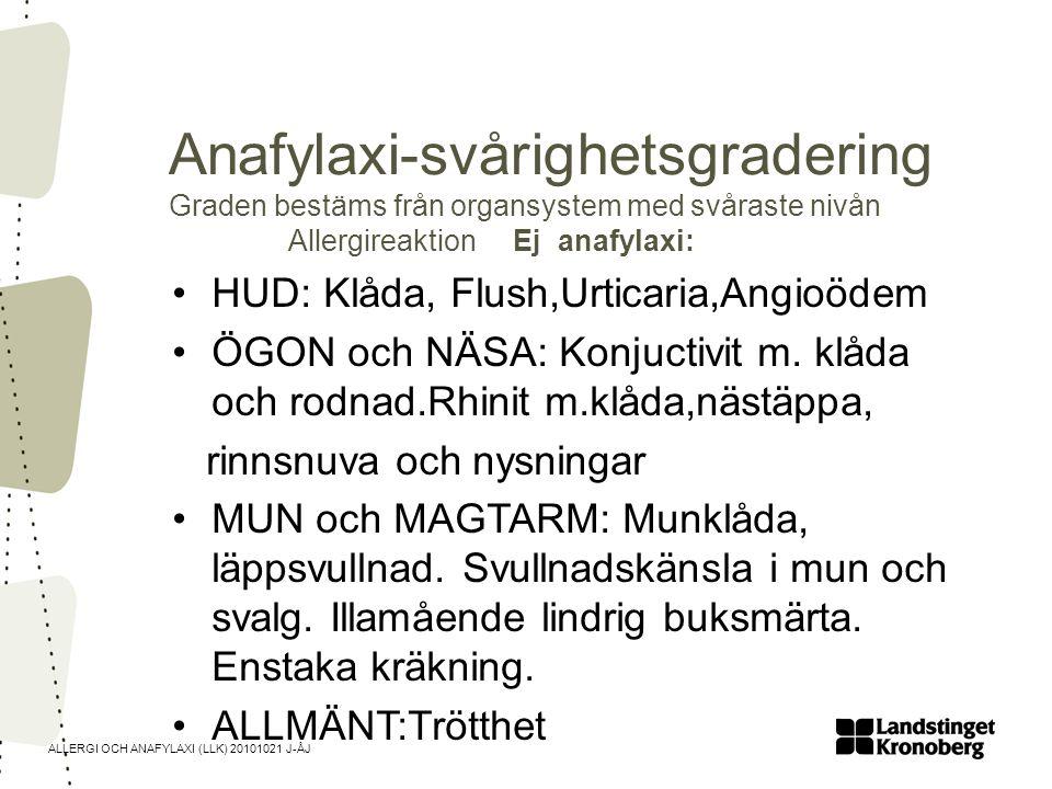 ALLERGI OCH ANAFYLAXI (LLK) 20101021 J-ÅJ Anafylaxi-svårighetsgradering Anafylaxi Grad 1 HUD: Klåda, Flush,Urticaria,Angioödem ÖGON och NÄSA: Konjuctivit m.