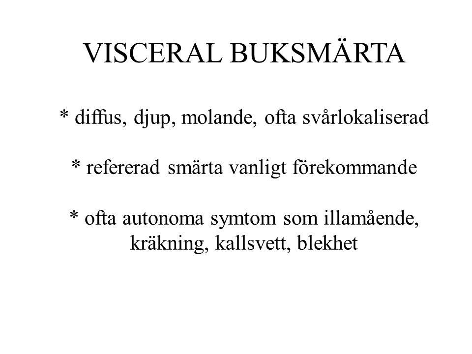 VISCERAL BUKSMÄRTA * diffus, djup, molande, ofta svårlokaliserad * refererad smärta vanligt förekommande * ofta autonoma symtom som illamående, kräkni
