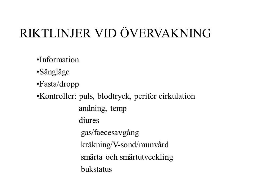 RIKTLINJER VID ÖVERVAKNING Information Sängläge Fasta/dropp Kontroller: puls, blodtryck, perifer cirkulation andning, temp diures gas/faecesavgång krä