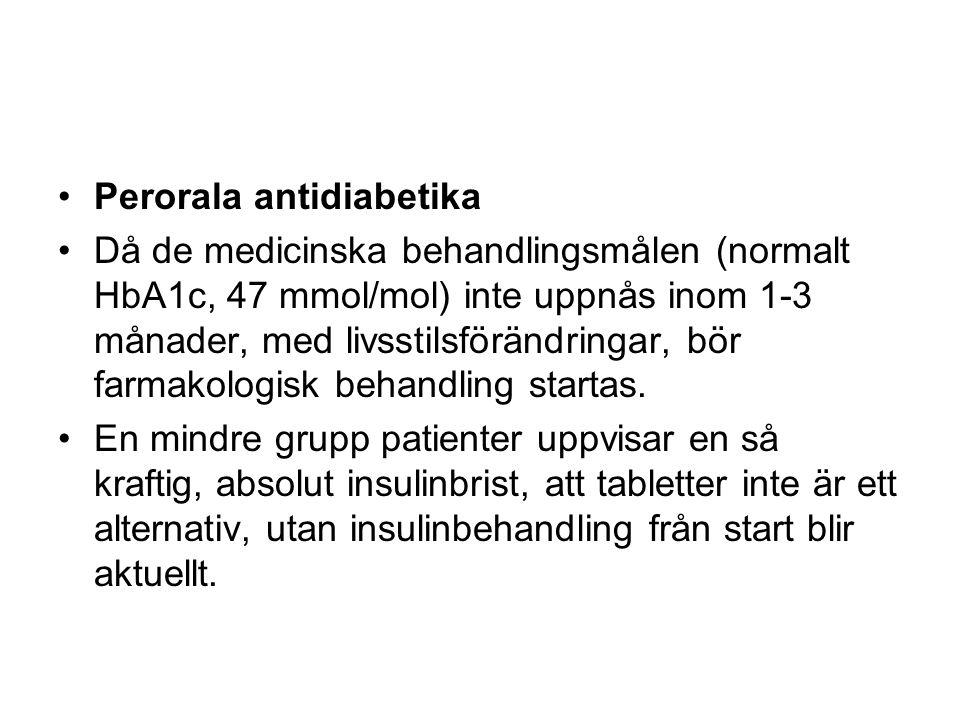 Perorala antidiabetika Då de medicinska behandlingsmålen (normalt HbA1c, 47 mmol/mol) inte uppnås inom 1-3 månader, med livsstilsförändringar, bör farmakologisk behandling startas.