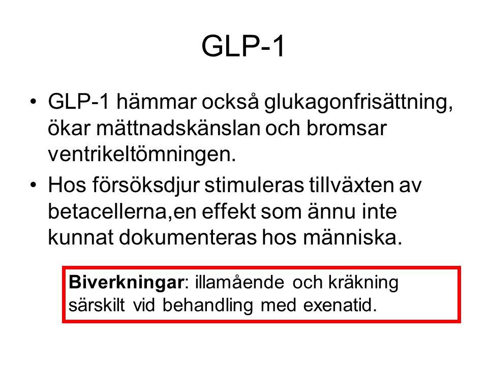 GLP-1 GLP-1 hämmar också glukagonfrisättning, ökar mättnadskänslan och bromsar ventrikeltömningen. Hos försöksdjur stimuleras tillväxten av betaceller