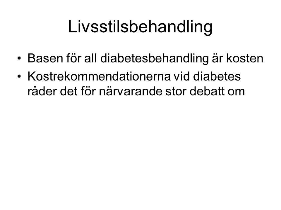 Livsstilsbehandling Basen för all diabetesbehandling är kosten Kostrekommendationerna vid diabetes råder det för närvarande stor debatt om