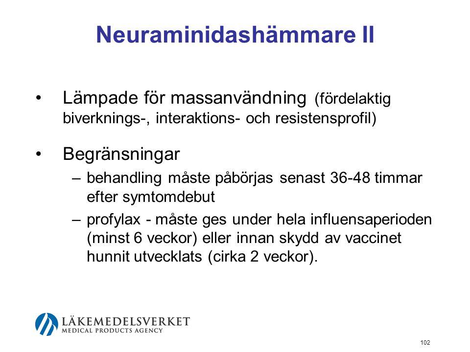 102 Neuraminidashämmare II Lämpade för massanvändning (fördelaktig biverknings-, interaktions- och resistensprofil) Begränsningar –behandling måste påbörjas senast 36-48 timmar efter symtomdebut –profylax - måste ges under hela influensaperioden (minst 6 veckor) eller innan skydd av vaccinet hunnit utvecklats (cirka 2 veckor).