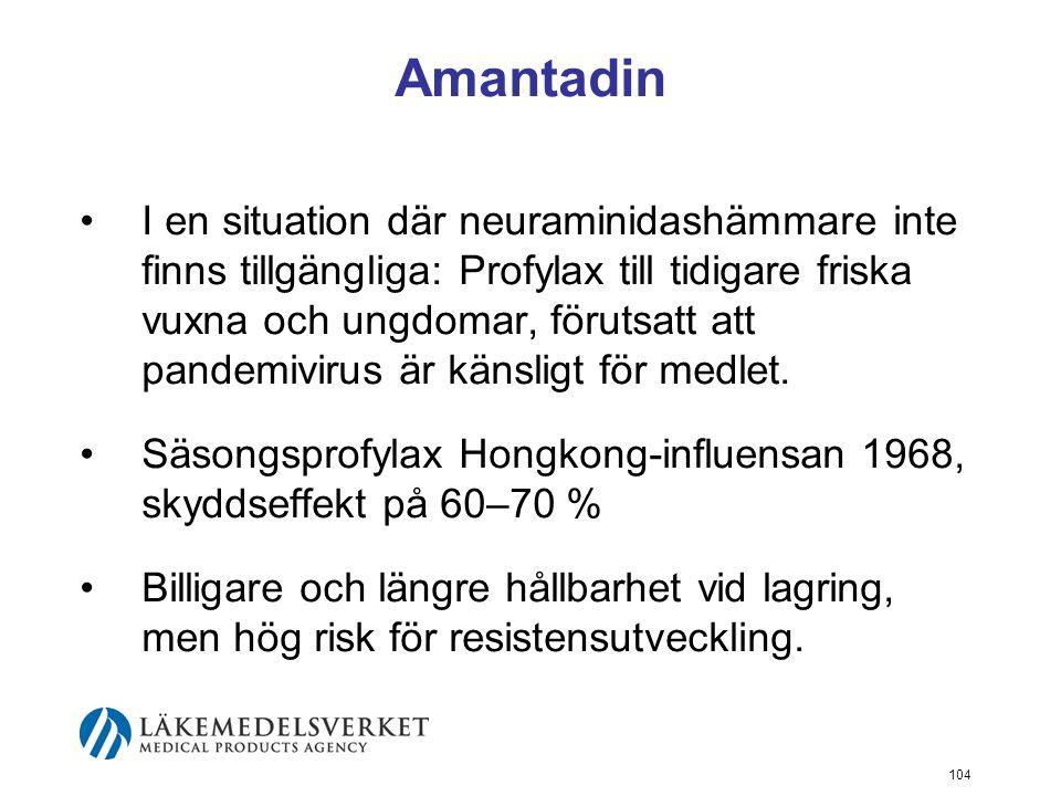 104 Amantadin I en situation där neuraminidashämmare inte finns tillgängliga: Profylax till tidigare friska vuxna och ungdomar, förutsatt att pandemivirus är känsligt för medlet.