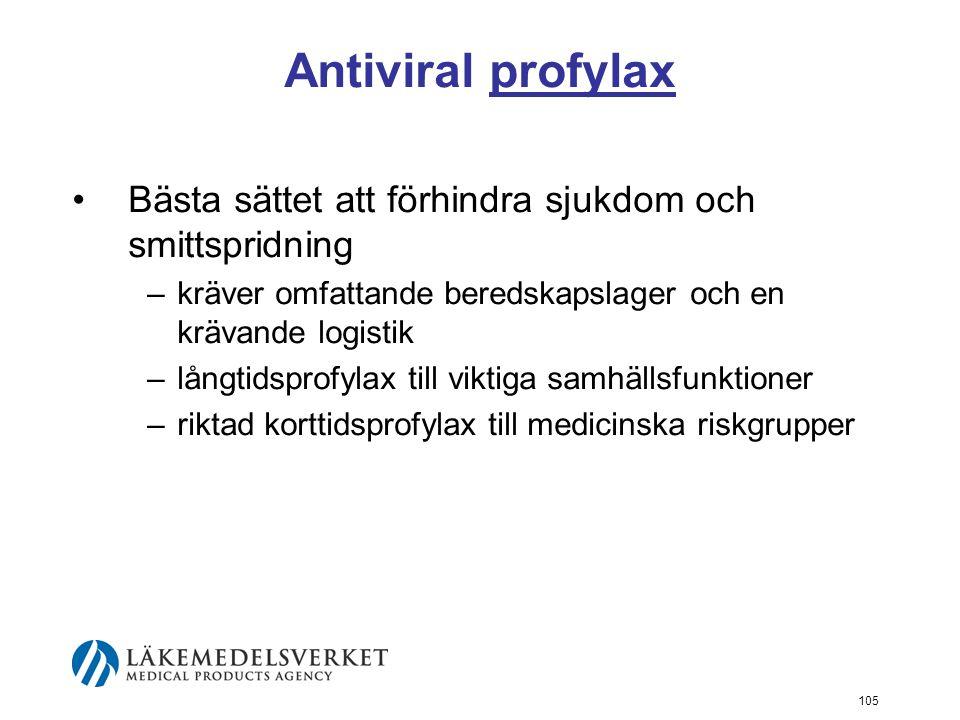 105 Antiviral profylax Bästa sättet att förhindra sjukdom och smittspridning –kräver omfattande beredskapslager och en krävande logistik –långtidsprofylax till viktiga samhällsfunktioner –riktad korttidsprofylax till medicinska riskgrupper