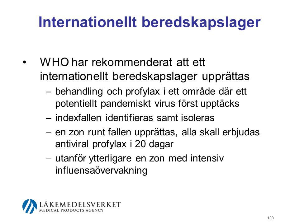 108 Internationellt beredskapslager WHO har rekommenderat att ett internationellt beredskapslager upprättas –behandling och profylax i ett område där ett potentiellt pandemiskt virus först upptäcks –indexfallen identifieras samt isoleras –en zon runt fallen upprättas, alla skall erbjudas antiviral profylax i 20 dagar –utanför ytterligare en zon med intensiv influensaövervakning