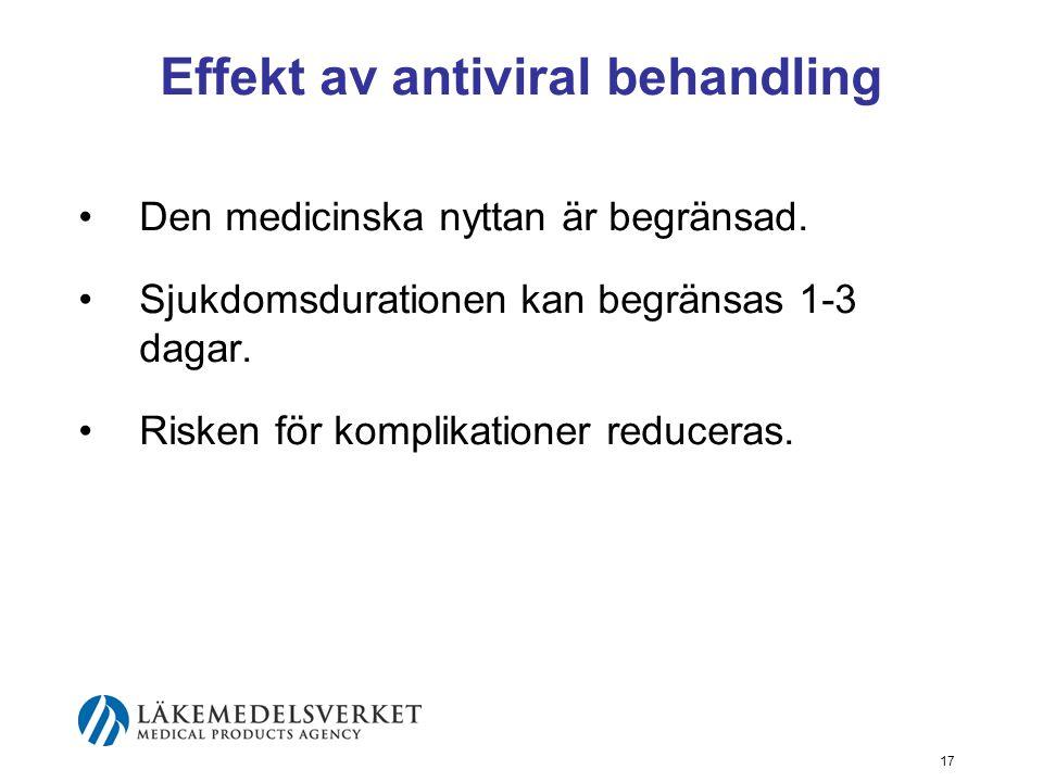 17 Effekt av antiviral behandling Den medicinska nyttan är begränsad.