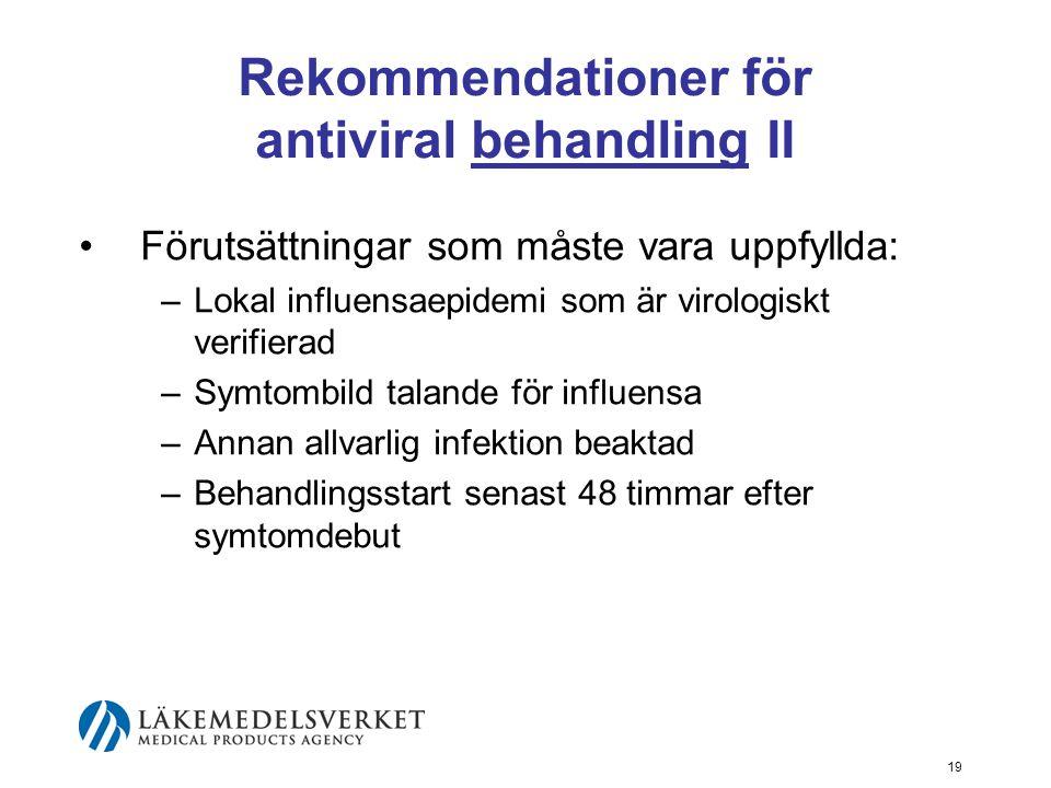 19 Rekommendationer för antiviral behandling II Förutsättningar som måste vara uppfyllda: –Lokal influensaepidemi som är virologiskt verifierad –Symtombild talande för influensa –Annan allvarlig infektion beaktad –Behandlingsstart senast 48 timmar efter symtomdebut
