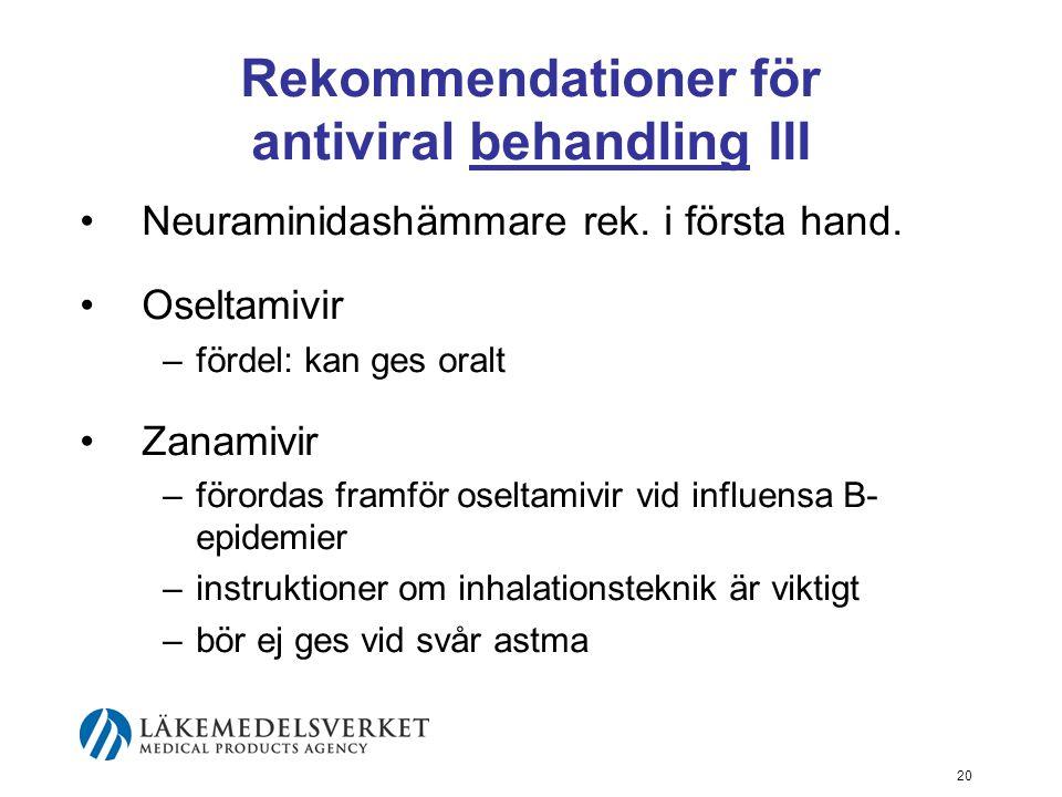 20 Rekommendationer för antiviral behandling III Neuraminidashämmare rek.