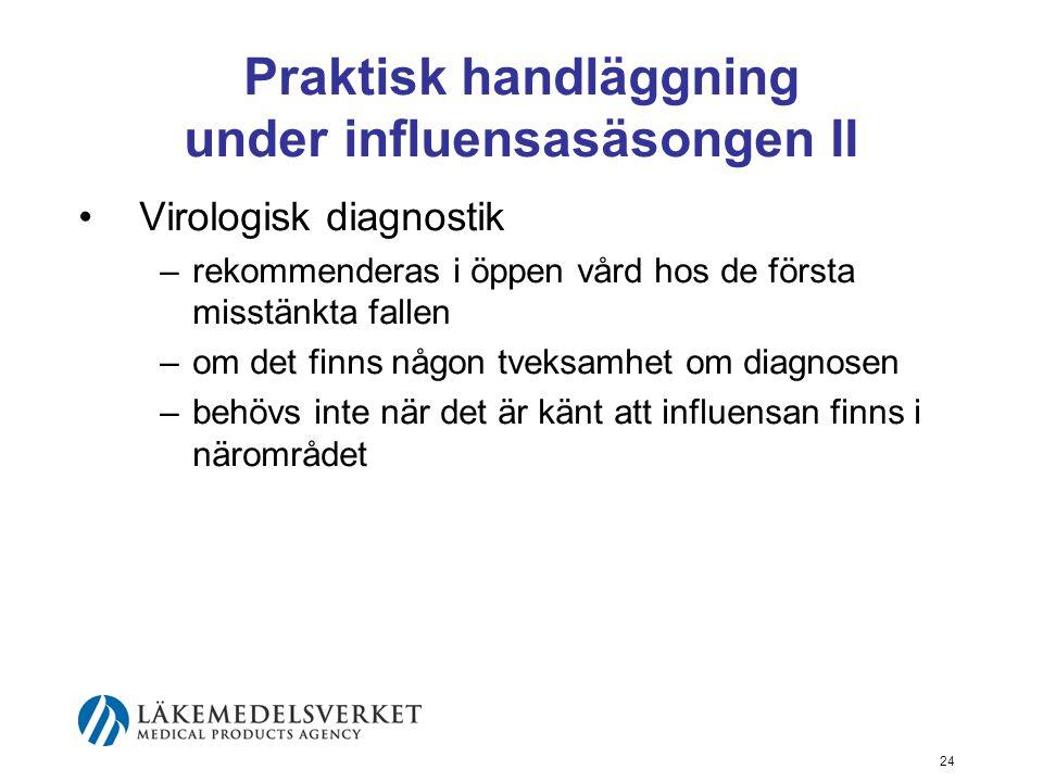 24 Praktisk handläggning under influensasäsongen II Virologisk diagnostik –rekommenderas i öppen vård hos de första misstänkta fallen –om det finns någon tveksamhet om diagnosen –behövs inte när det är känt att influensan finns i närområdet