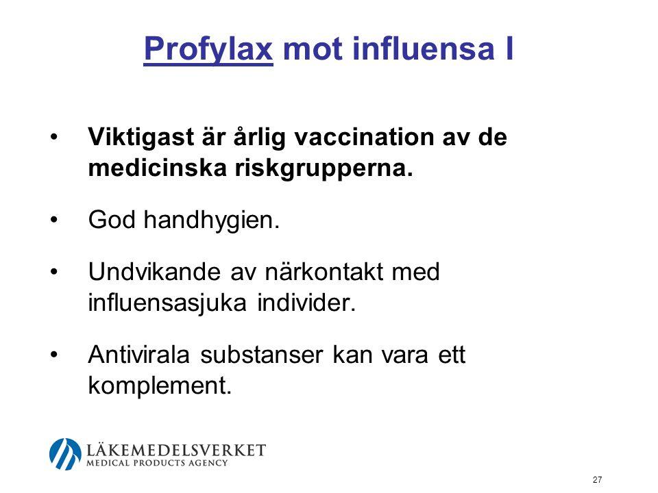 27 Profylax mot influensa I Viktigast är årlig vaccination av de medicinska riskgrupperna.