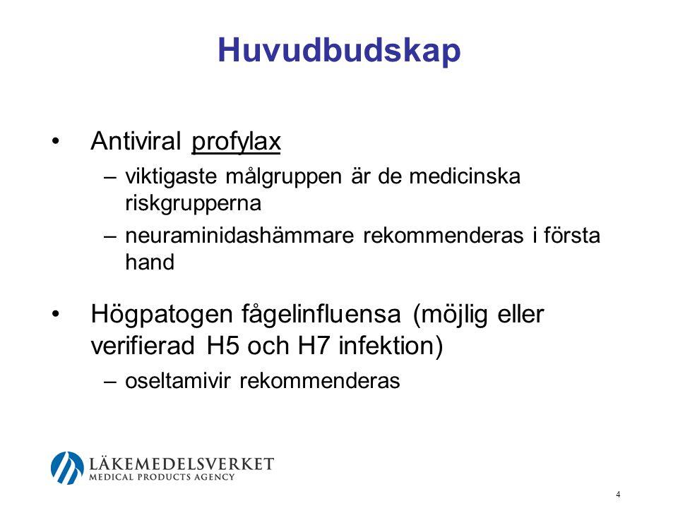 4 Huvudbudskap Antiviral profylax –viktigaste målgruppen är de medicinska riskgrupperna –neuraminidashämmare rekommenderas i första hand Högpatogen fågelinfluensa (möjlig eller verifierad H5 och H7 infektion) –oseltamivir rekommenderas