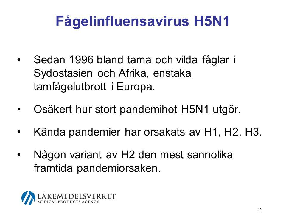 41 Fågelinfluensavirus H5N1 Sedan 1996 bland tama och vilda fåglar i Sydostasien och Afrika, enstaka tamfågelutbrott i Europa.