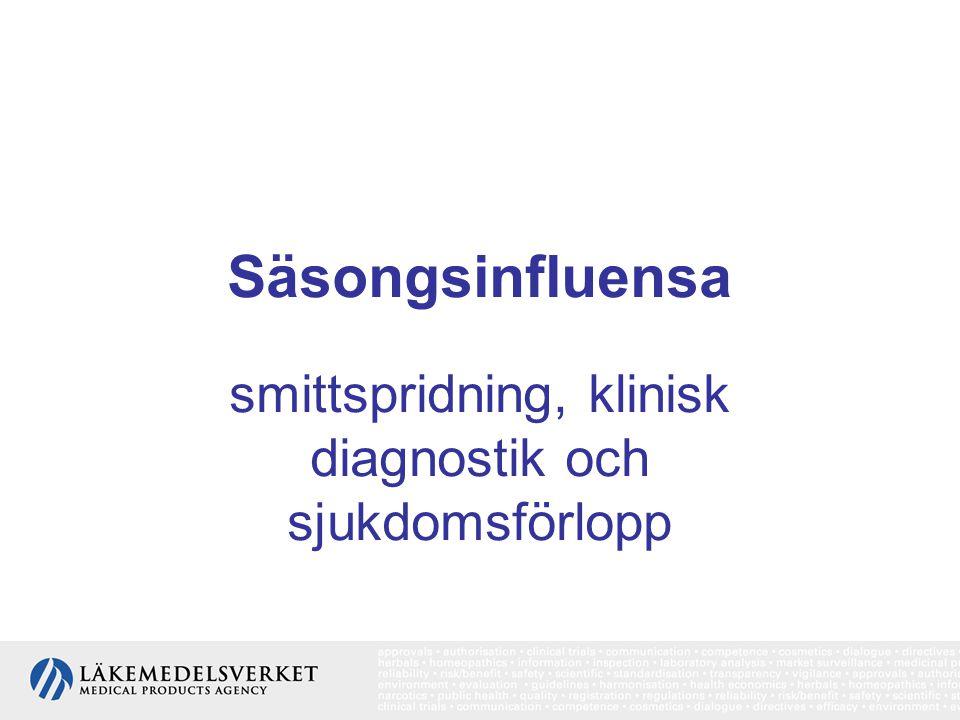 Säsongsinfluensa smittspridning, klinisk diagnostik och sjukdomsförlopp