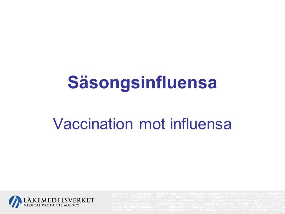 Säsongsinfluensa Vaccination mot influensa