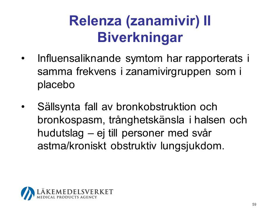 59 Relenza (zanamivir) II Biverkningar Influensaliknande symtom har rapporterats i samma frekvens i zanamivirgruppen som i placebo Sällsynta fall av bronkobstruktion och bronkospasm, trånghetskänsla i halsen och hudutslag – ej till personer med svår astma/kroniskt obstruktiv lungsjukdom.