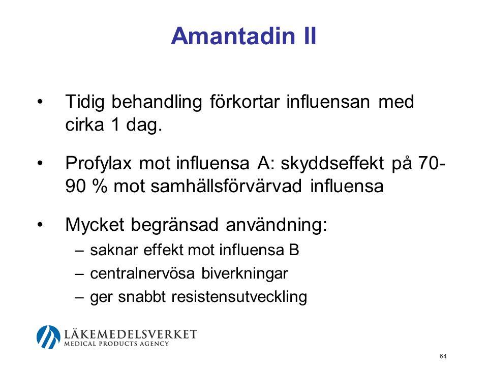 64 Amantadin II Tidig behandling förkortar influensan med cirka 1 dag.