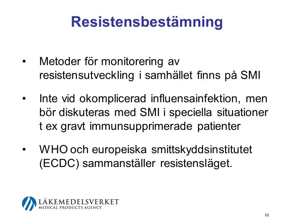 66 Resistensbestämning Metoder för monitorering av resistensutveckling i samhället finns på SMI Inte vid okomplicerad influensainfektion, men bör diskuteras med SMI i speciella situationer t ex gravt immunsupprimerade patienter WHO och europeiska smittskyddsinstitutet (ECDC) sammanställer resistensläget.