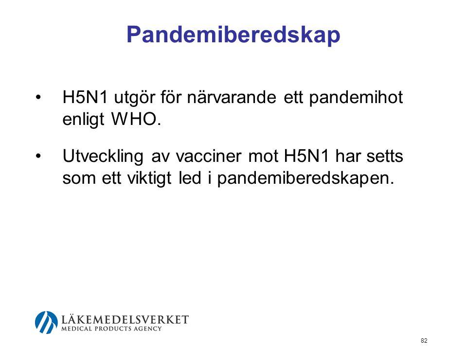 82 Pandemiberedskap H5N1 utgör för närvarande ett pandemihot enligt WHO.