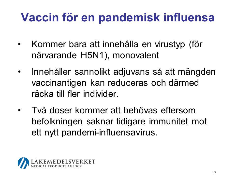 83 Vaccin för en pandemisk influensa Kommer bara att innehålla en virustyp (för närvarande H5N1), monovalent Innehåller sannolikt adjuvans så att mängden vaccinantigen kan reduceras och därmed räcka till fler individer.