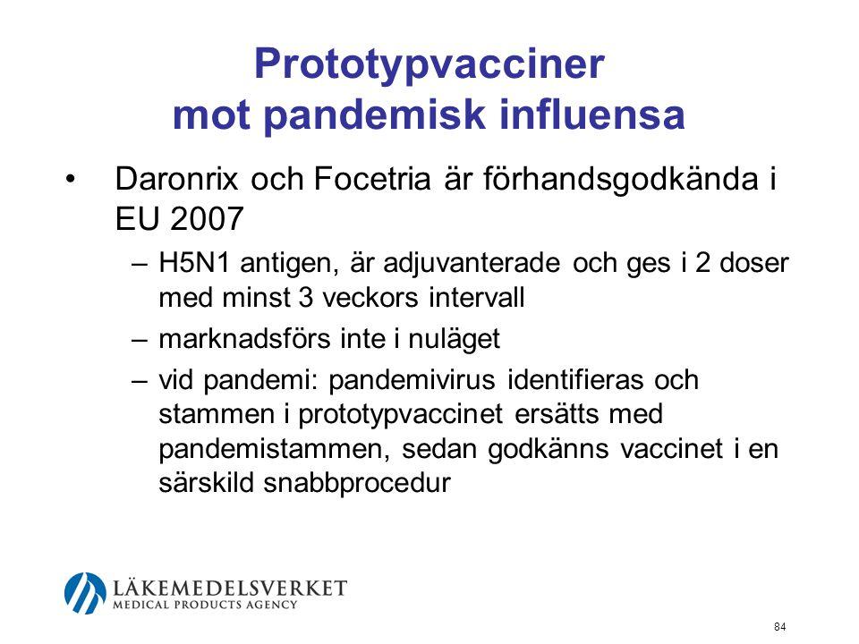 84 Prototypvacciner mot pandemisk influensa Daronrix och Focetria är förhandsgodkända i EU 2007 –H5N1 antigen, är adjuvanterade och ges i 2 doser med minst 3 veckors intervall –marknadsförs inte i nuläget –vid pandemi: pandemivirus identifieras och stammen i prototypvaccinet ersätts med pandemistammen, sedan godkänns vaccinet i en särskild snabbprocedur