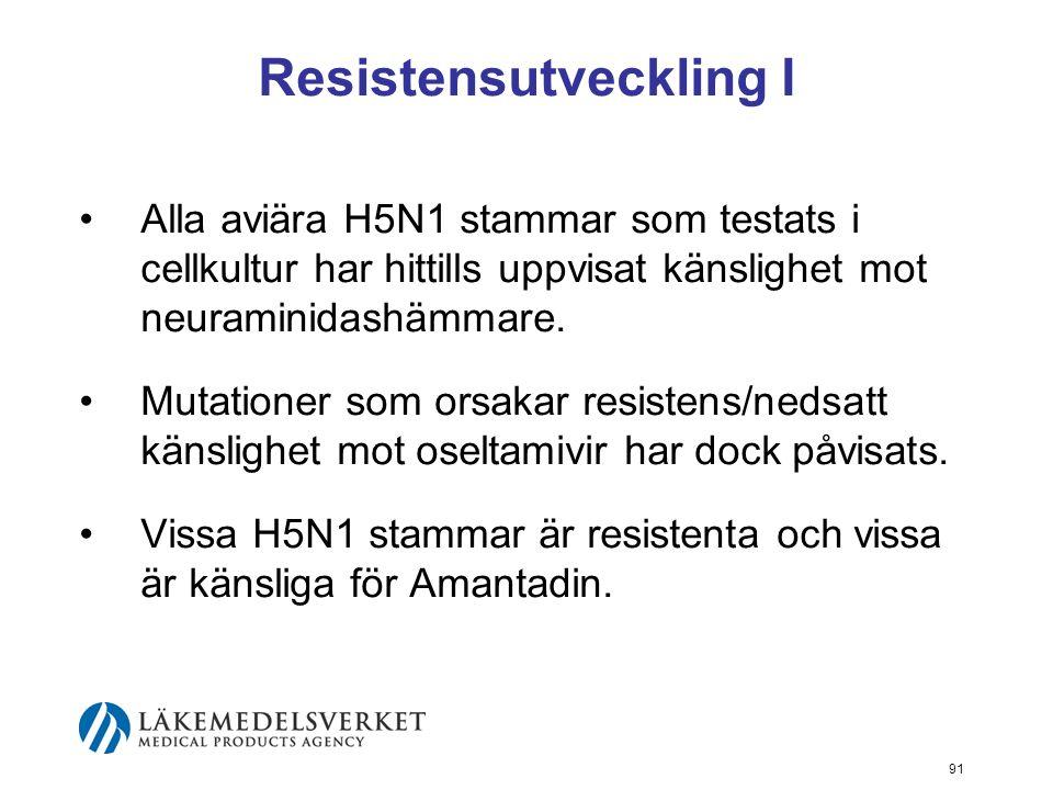 91 Resistensutveckling I Alla aviära H5N1 stammar som testats i cellkultur har hittills uppvisat känslighet mot neuraminidashämmare.