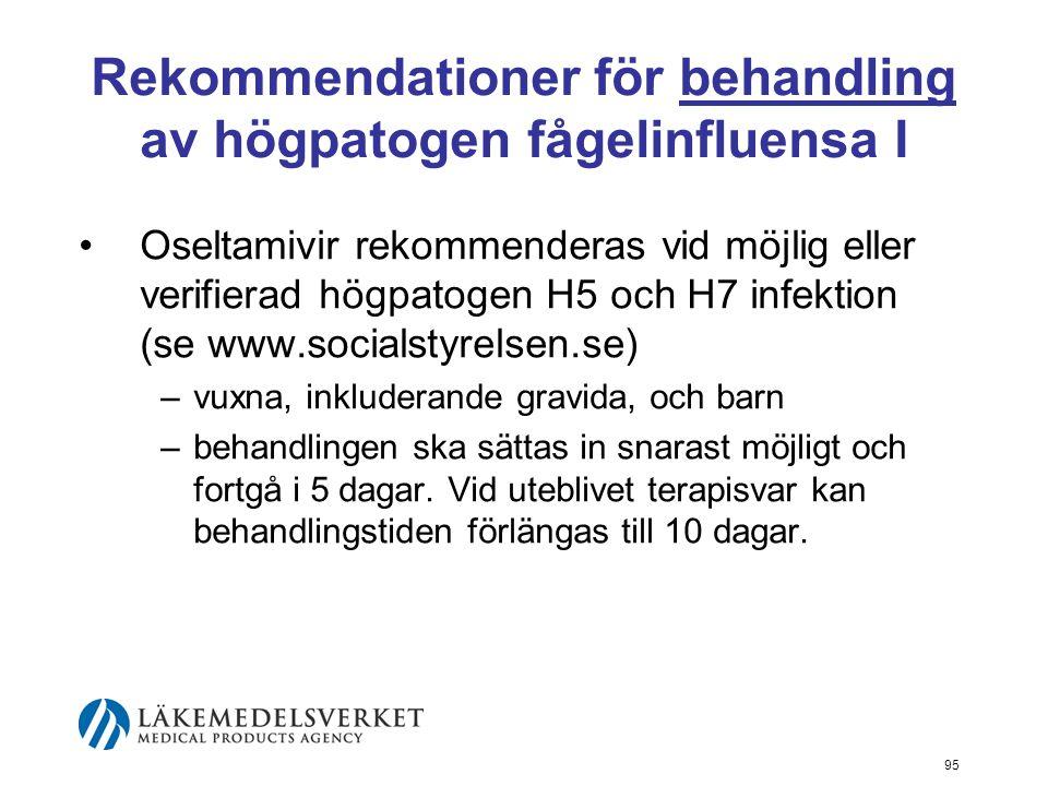 95 Rekommendationer för behandling av högpatogen fågelinfluensa I Oseltamivir rekommenderas vid möjlig eller verifierad högpatogen H5 och H7 infektion (se www.socialstyrelsen.se) –vuxna, inkluderande gravida, och barn –behandlingen ska sättas in snarast möjligt och fortgå i 5 dagar.