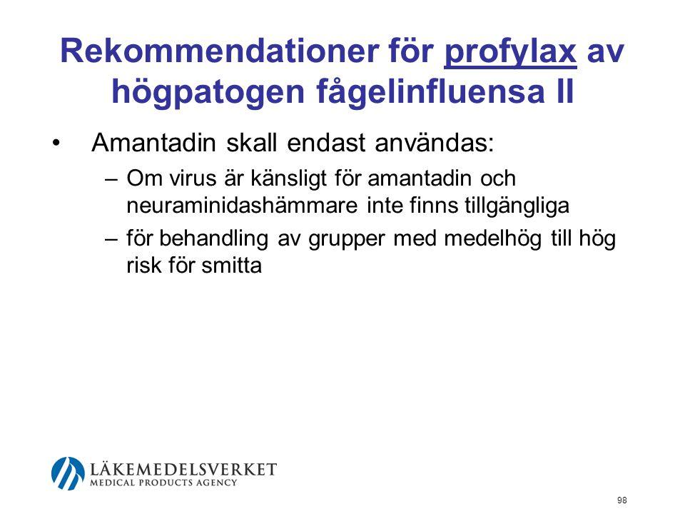 98 Rekommendationer för profylax av högpatogen fågelinfluensa II Amantadin skall endast användas: –Om virus är känsligt för amantadin och neuraminidashämmare inte finns tillgängliga –för behandling av grupper med medelhög till hög risk för smitta