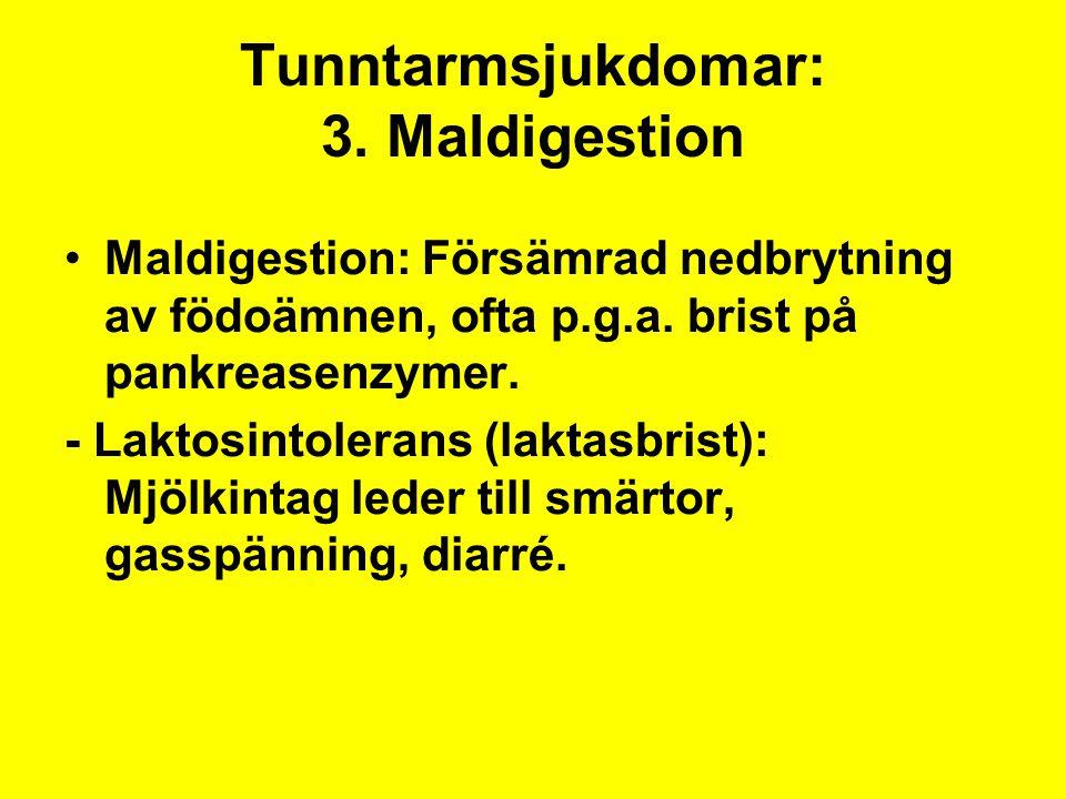 Tunntarmsjukdomar: 3. Maldigestion Maldigestion: Försämrad nedbrytning av födoämnen, ofta p.g.a. brist på pankreasenzymer. - Laktosintolerans (laktasb