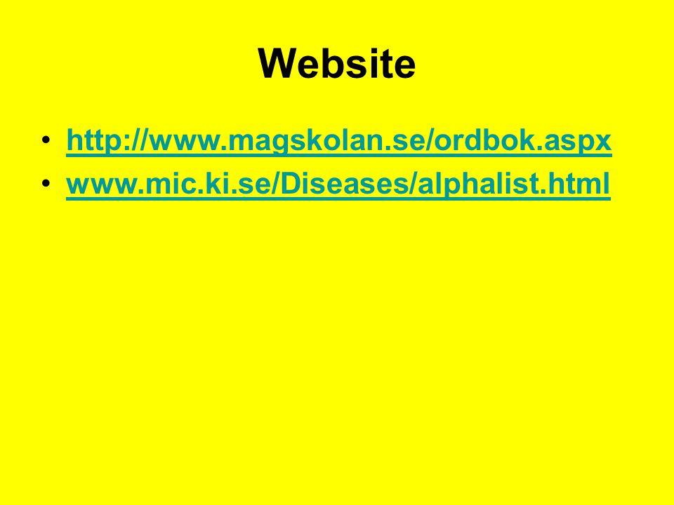Website http://www.magskolan.se/ordbok.aspx www.mic.ki.se/Diseases/alphalist.html