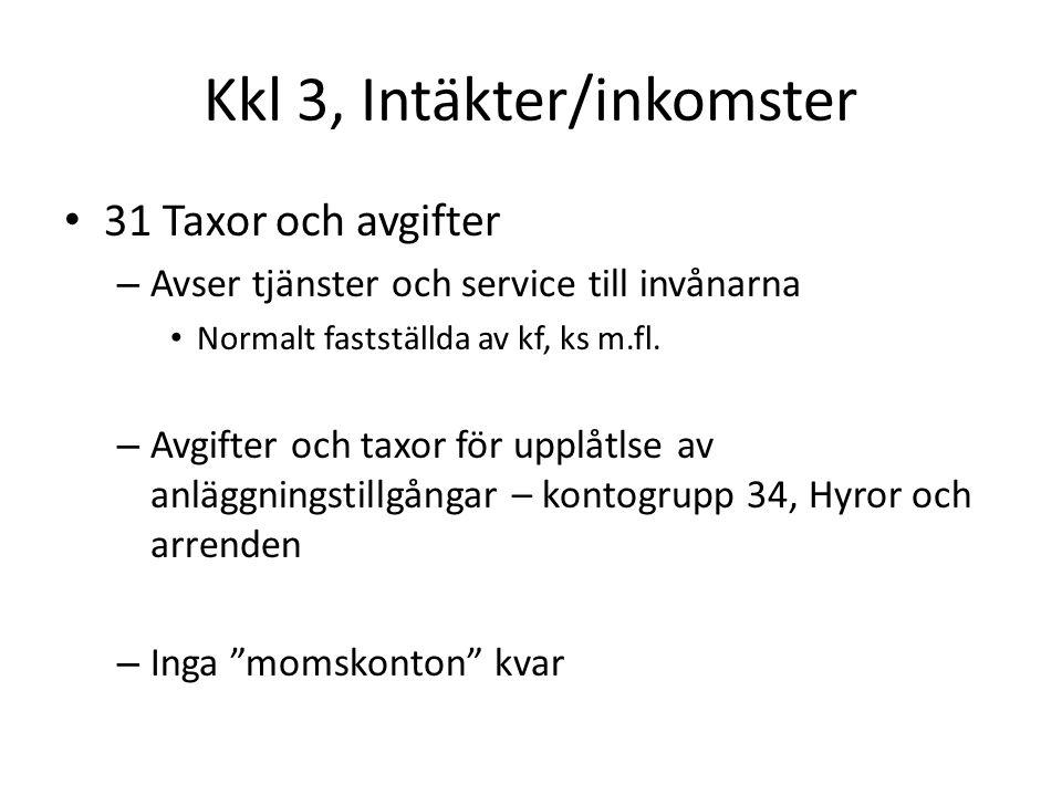 Kkl 3, Intäkter/inkomster 31 Taxor och avgifter – Avser tjänster och service till invånarna Normalt fastställda av kf, ks m.fl.
