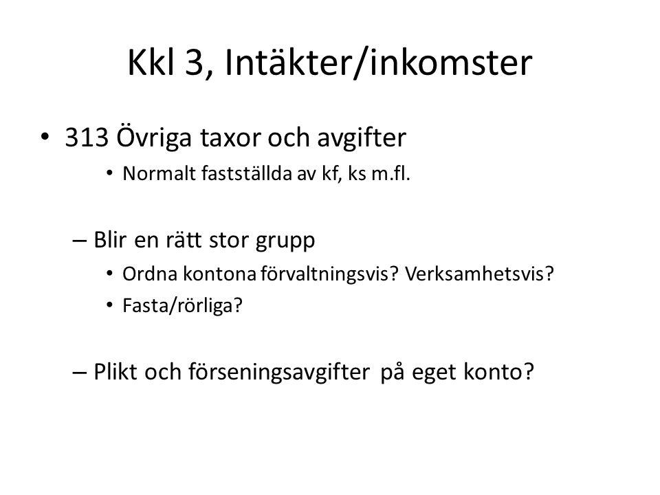 Kkl 3, Intäkter/inkomster 313 Övriga taxor och avgifter Normalt fastställda av kf, ks m.fl.