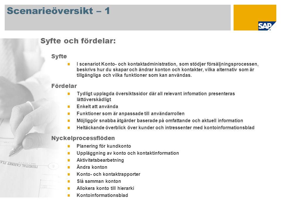 Scenarieöversikt – 2 Krav SAP CRM 2007 Företagsroller som deltar i processflödet Försäljningschef Försäljningsmedarbetare SAP-applikationskrav: