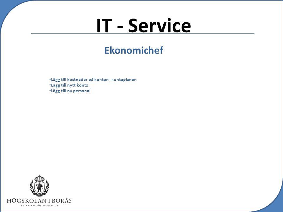 IT - Service Ekonomichef Lägg till kostnader på konton i kontoplanen Lägg till nytt konto Lägg till ny personal