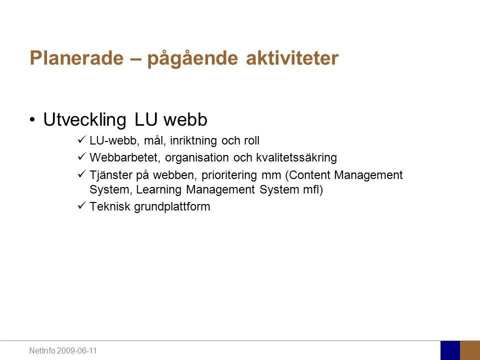 Planerade – pågående aktiviteter Utveckling LU webb LU-webb, mål, inriktning och roll Webbarbetet, organisation och kvalitetssäkring Tjänster på webben, prioritering mm (Content Management System, Learning Management System mfl) Teknisk grundplattform