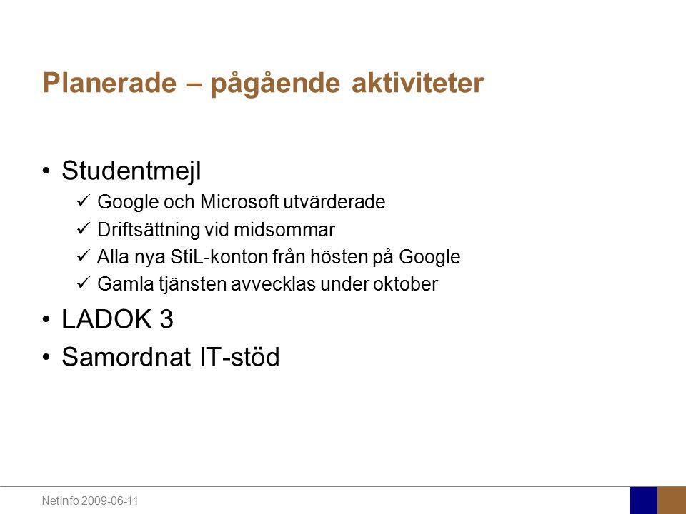NetInfo 2009-06-11 Planerade – pågående aktiviteter Studentmejl Google och Microsoft utvärderade Driftsättning vid midsommar Alla nya StiL-konton från hösten på Google Gamla tjänsten avvecklas under oktober LADOK 3 Samordnat IT-stöd