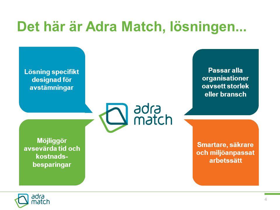 4 Det här är Adra Match, lösningen... Passar alla organisationer oavsett storlek eller bransch Smartare, säkrare och miljöanpassat arbetssätt Möjliggö