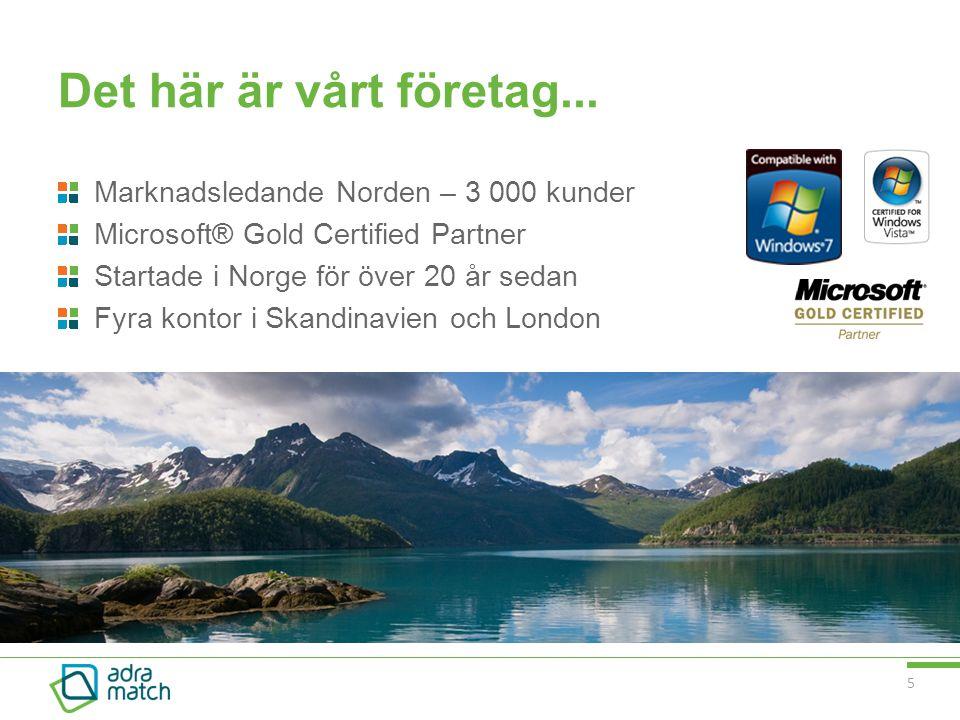 5 Det här är vårt företag... Marknadsledande Norden – 3 000 kunder Microsoft® Gold Certified Partner Startade i Norge för över 20 år sedan Fyra kontor