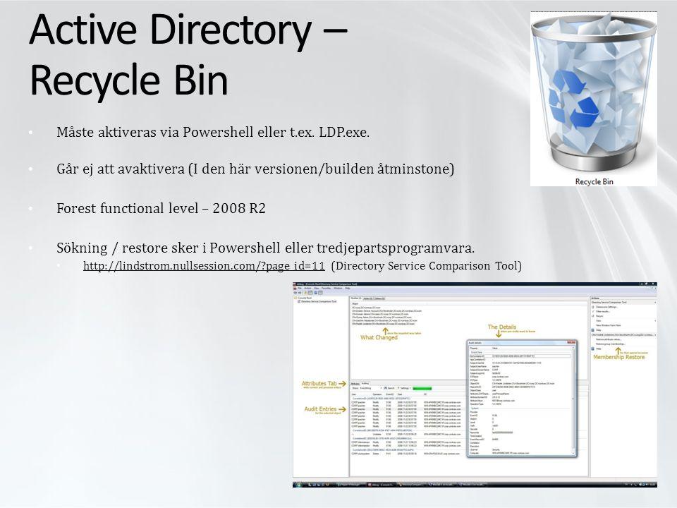 Demo AD Recycle Bin