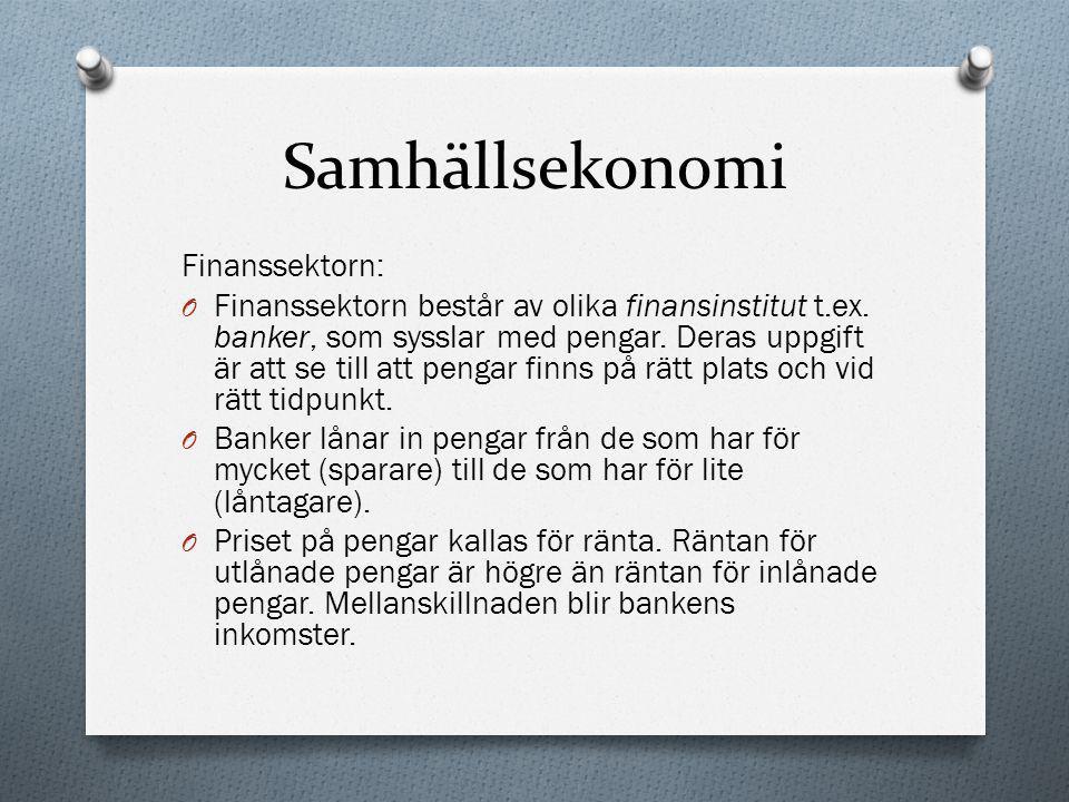 Samhällsekonomi Finanssektorn: O Finanssektorn består av olika finansinstitut t.ex. banker, som sysslar med pengar. Deras uppgift är att se till att p