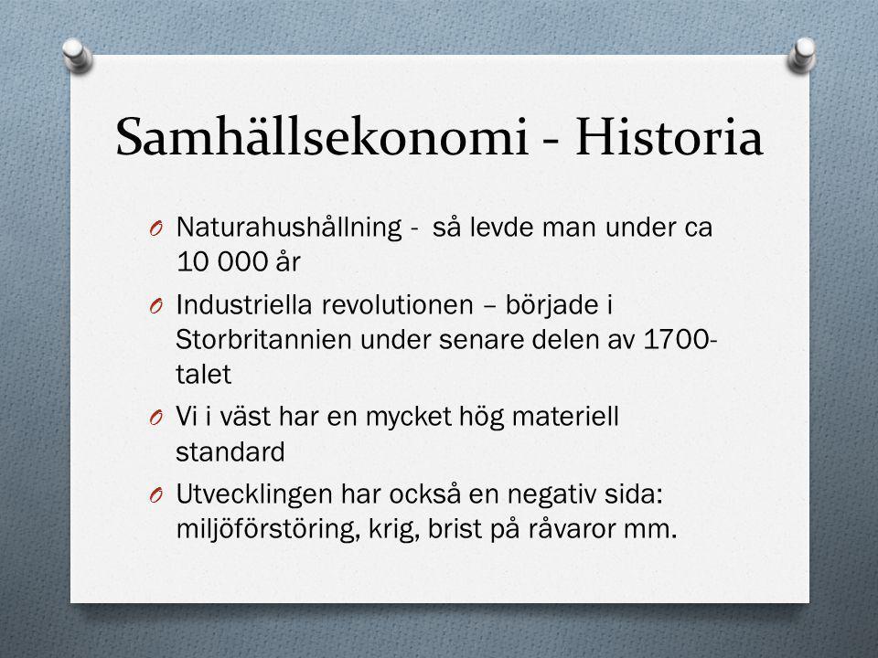 Samhällsekonomi - Historia O Naturahushållning - så levde man under ca 10 000 år O Industriella revolutionen – började i Storbritannien under senare d