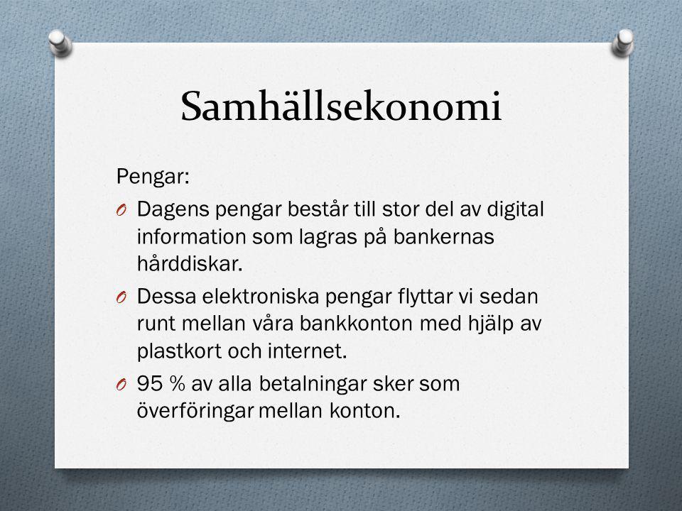 Samhällsekonomi Pengar: O Dagens pengar består till stor del av digital information som lagras på bankernas hårddiskar. O Dessa elektroniska pengar fl
